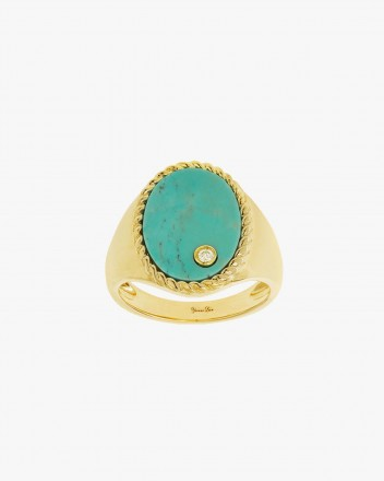 Chevaliere Ovale Turquoise