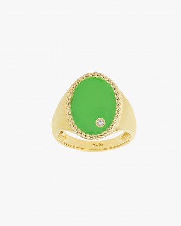 Chevaliere Ovale Neon Vert