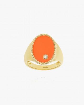 Chevaliere Ovale Neon Orange