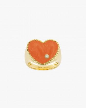 Chevaliere Coeur Corail Ring