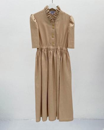 Eleonora Beige Linen Dress