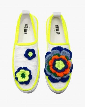 Crochet Neon Flowers Sneakers