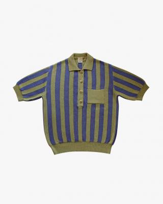 Stripped Polo Olive and Purple