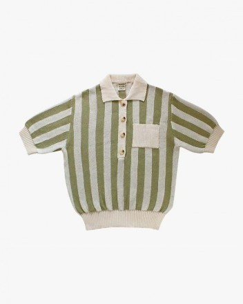 Stripped Polo Olive and Cream