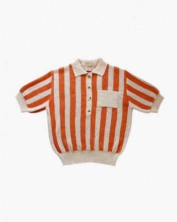 Stripped Polo Orange and Cream