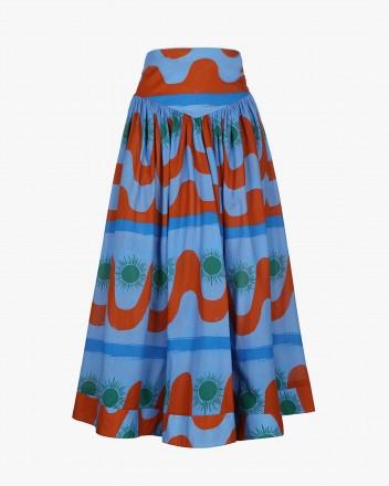 Clavel Skirt in Agua print