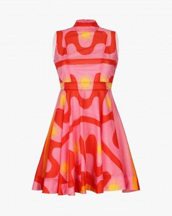 Hortencia Dress in Fuego print