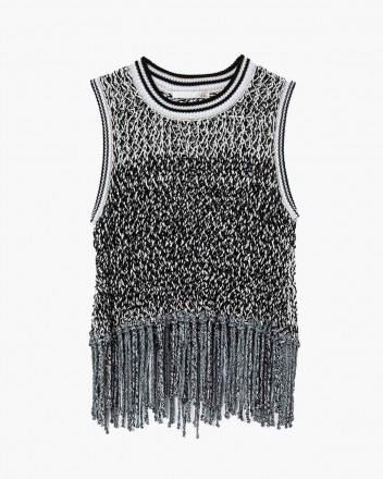 See-through tank knit-top