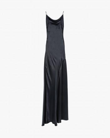 Halter open-back silk dress