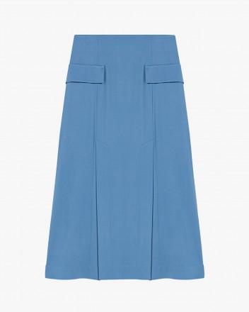 Slit midi-length skirt