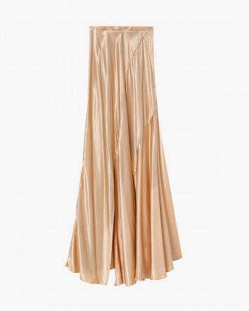 Bias-cut asymmetrical skirt