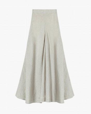 High-waisted linen skirt