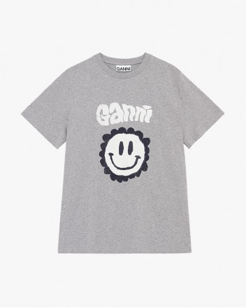 Smily Cotton T-Shirt In Grey