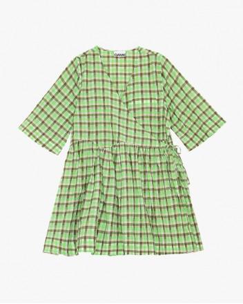 Seersucker Check Wrap Dress
