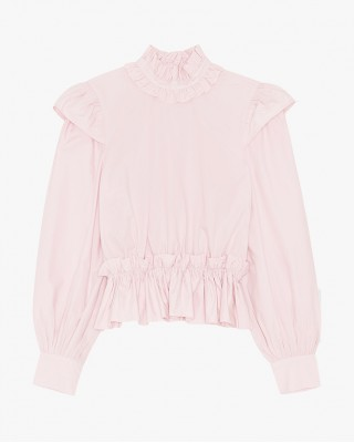 Cotton Poplin Ruffled Cropped Blouse In Pale Lilac