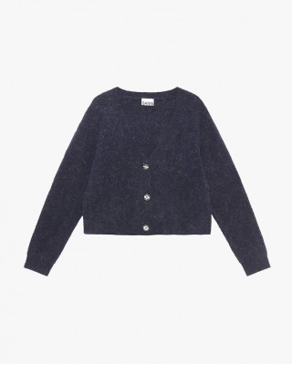 Shoft Whool Knit  Cardingan In Navy Blue
