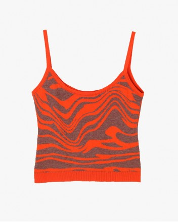 Wave Knit Top in Orange