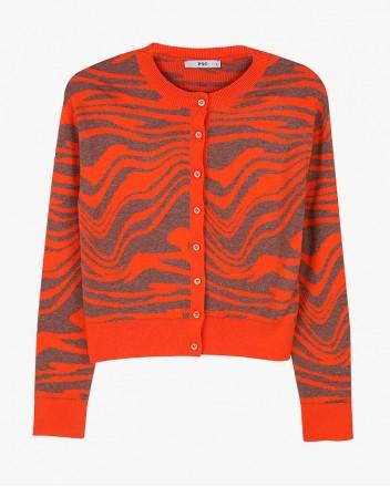 Wave Knit Cardigan in Orange