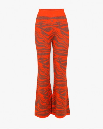 Wave Knitted Pants in Orange