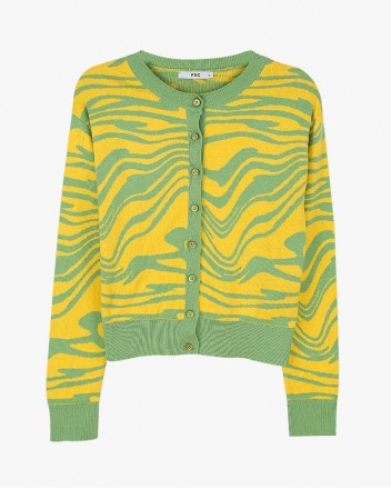 Wave Knit Cardigan in Yellow