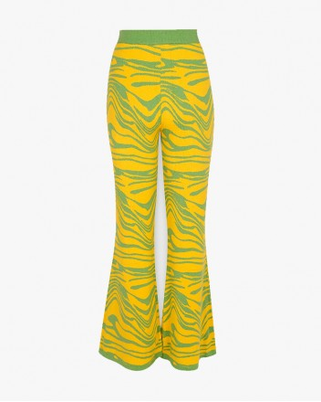 Wave Knitted Pants in Yellow