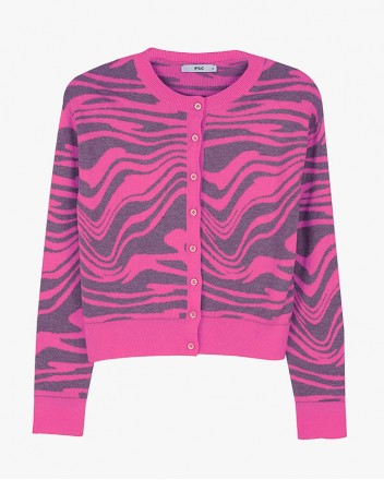 Wave Knit Cardigan in Pink
