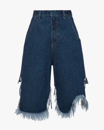 Denim Shorts With Fringed...