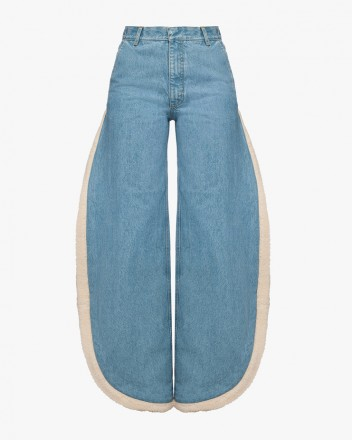 Wide Jeans With Fur Cutouts