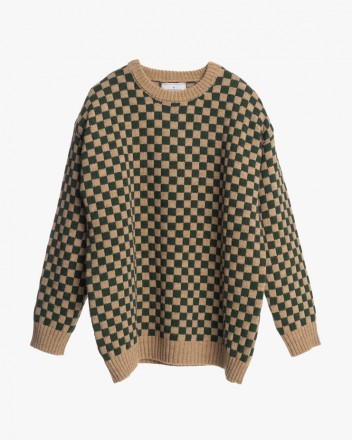 Green and Camel Chess Knit...