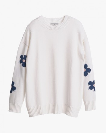 Knitted Daisy Sweater in White