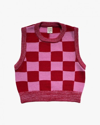 Checkmate Vest Red and Pink