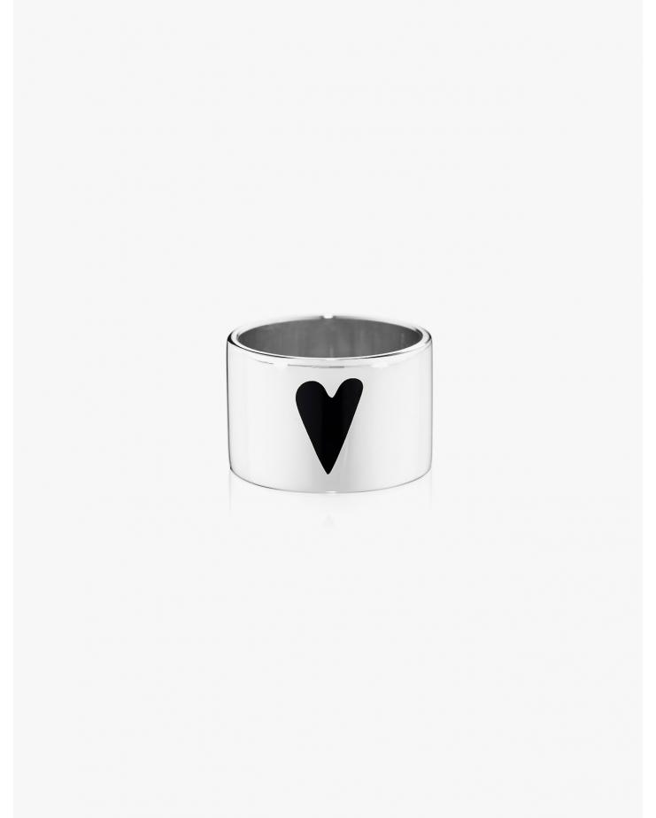 Silver Heart Wide Band Ring