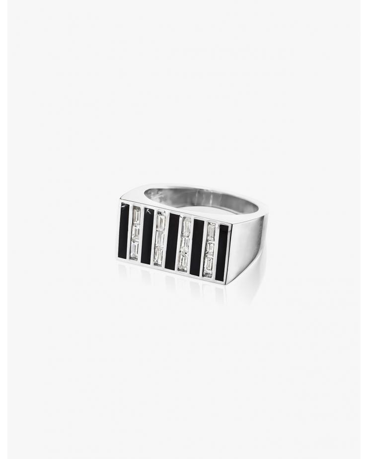 Diamond Stripe Signet Ring