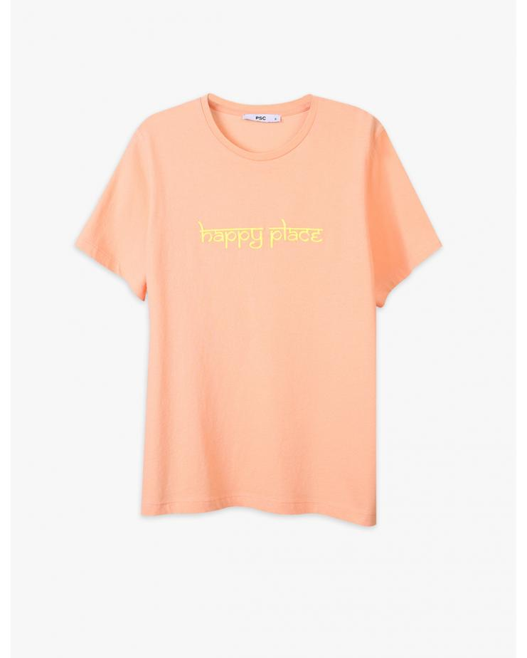 Happy Place T Shirt in Apricot